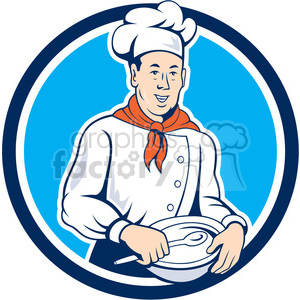 chef holding spoon and bowl front CIRC clipart. Commercial use image # 394542