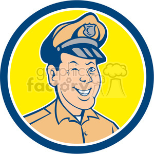 policeman winking front CIRC clipart. Royalty-free image # 394552