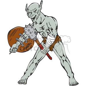 orc warrior shield club clipart. Commercial use image # 394582
