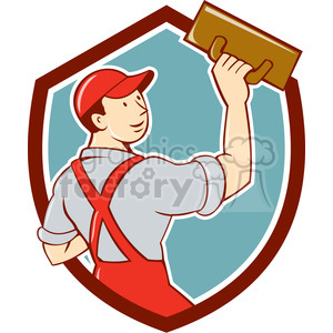plasterer trowel rear view SHIELD clipart. Royalty-free image # 394592