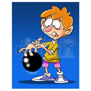 cartoon kid bowling with ball stuck on fingers clipart. Commercial use image # 394682