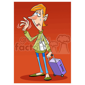 sad person leaving with a suitcase clipart. Commercial use image # 394732