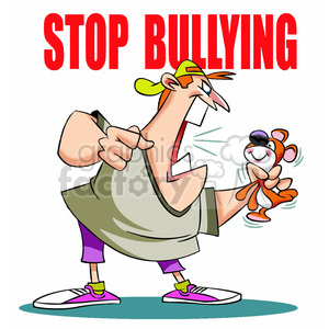 cartoon stop bullying bully kid school education sign child tease yell angry mad