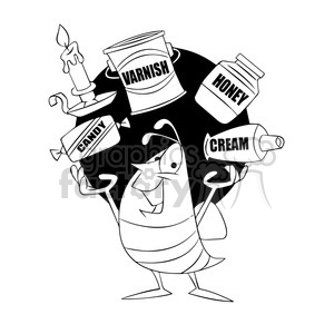 bee juggling items products honey and chemicals black and white clipart. Royalty-free image # 394772