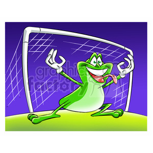 cartoon soccer sports goalie goal frog frogs
