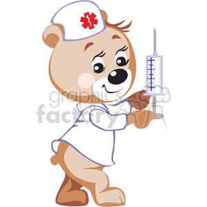 Teddy bear nurse holding a big syringe  clipart. Commercial use image # 370188