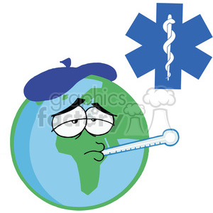 Sick Planet Earth Character Wearing an Ice Pack,a Thermometer Stuck In His Mouth In Red Cross clipart. Commercial use image # 378199