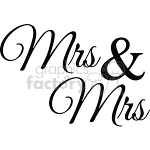 mrs and mrs vector word art clipart. Commercial use image # 394848