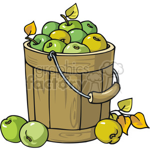 Bucket full of green apples clipart. Commercial use image # 145438
