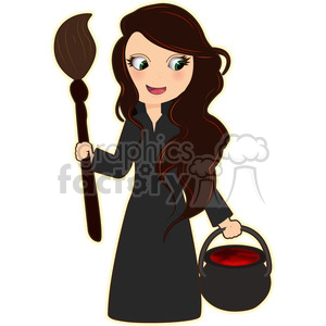 Halloween Witch cartoon character vector image clipart. Royalty-free image # 394965