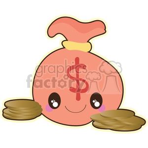 Bag of Gold cartoon character vector clip art image clipart. Royalty-free image # 395041