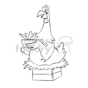 cartoon funny silly comics character mascot mascots chicken hen eggs sitting black+white
