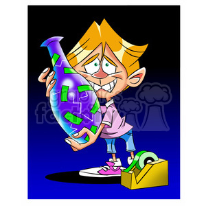 kid trying to fix a broken vase with tape clipart. Commercial use image # 395228