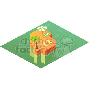 cartoon character cute illustration geometric square island blocks block world water