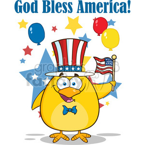 8608 Royalty Free RF Clipart Illustration Patriotic Yellow Chick Cartoon Character Waving An American Flag On Independence Day Vector Illustration Isolated On White With Text clipart. Royalty-free image # 395279