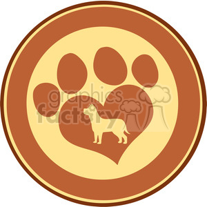 Illustration Love Paw Print Brown Circle Banner Design With Dog Silhouette clipart. Commercial use image # 395289