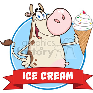 Illustration Happy Cow Cartoon Mascot Character Holding A Ice Cream Circle Banner clipart. Royalty-free image # 395309