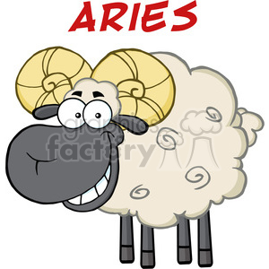 Royalty Free RF Clipart Illustration Smiling Black Head Ram Sheep Under Text Aries clipart. Royalty-free image # 395319