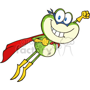 Royalty Free RF Clipart Illustration Frog Superhero Cartoon Character Flying clipart. Commercial use image # 395349