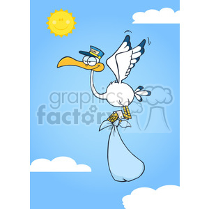 Royalty Free RF Clipart Illustration Cute Cartoon Stork Delivery A Baby Boy In The Sky clipart. Royalty-free image # 395359