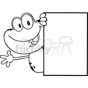 Royalty Free RF Clipart Illustration Black And White Cute Frog Cartoon Mascot Character Looking Around A Blank Sign And Waving clipart. Royalty-free image # 395379