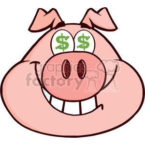 Royalty Free RF Clipart Illustration Smiling Rich Pig Head With Dollar Eyes clipart. Royalty-free image # 395399