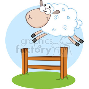 7123 Royalty Free RF Clipart Illustration Funny White Sheep Jumping Over The Fence clipart. Commercial use image # 395409