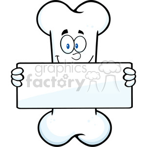Royalty Free RF Clipart Illustration Funny Bone Cartoon Mascot Character Holding A Banner clipart. Commercial use image # 395419