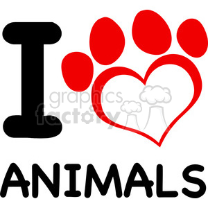 Illustration I Love Animals Text With Red Heart Paw Print clipart. Commercial use image # 395449