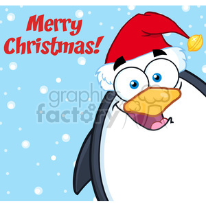 Royalty Free RF Clipart Illustration Merry Christmas With Cute Penguin Cartoon Mascot Character Looking From A Corner clipart. Royalty-free image # 395489