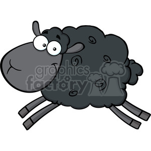 Royalty Free RF Clipart Illustration Black Sheep Cartoon Mascot Character Jumping clipart. Commercial use image # 395499