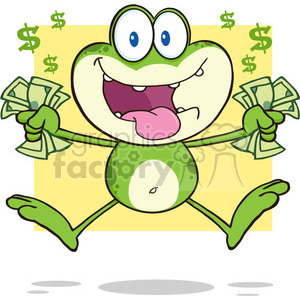 cartoon funny animal animals frog money cash greed greedy