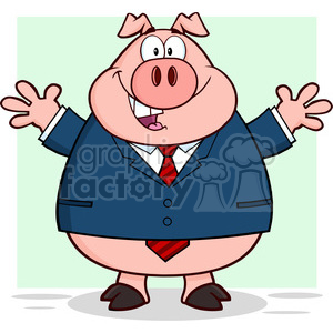 7159 Royalty Free RF Clipart Illustration Businessman Pig Cartoon Mascot Character With Open Arms clipart. Commercial use image # 395559