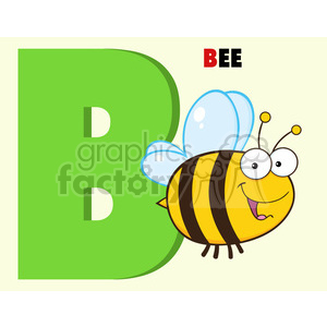Illustration Funny Cartoon Alphabet B With Bee clipart. Royalty-free image # 395589