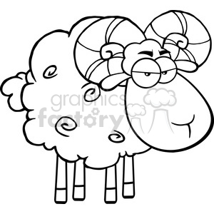 Royalty Free RF Clipart Illustration Black And White Angry Ram Sheep Cartoon Mascot Character clipart. Royalty-free image # 395689