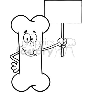 Royalty Free RF Clipart Illustration Black And White Funny Bone Cartoon Mascot Character Holding A Blank Sign clipart. Royalty-free image # 395699