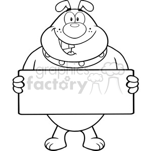 Royalty Free RF Clipart Illustration Black And White Bulldog Cartoon Mascot Character Holding A Banner clipart. Commercial use image # 395709