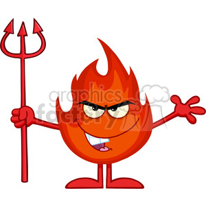 Royalty Free RF Clipart Illustration Evil Fire Cartoon Mascot Character Holding Up A Pitchfork clipart. Royalty-free image # 395719