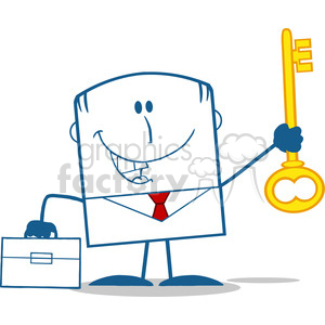 Royalty Free RF Clipart Illustration Happy Businessman With Briefcase Holding A Golden Key Monochrome Cartoon Character