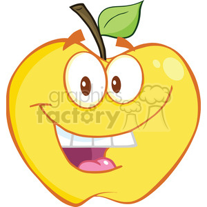 Royalty Free RF Clipart Illustration Smiling Yellow Apple Cartoon Mascot Character clipart. Royalty-free image # 395739