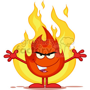 Royalty Free RF Clipart Illustration Evil Fire Cartoon Mascot Character With Open Arms In Front Of Flames clipart. Royalty-free image # 395769