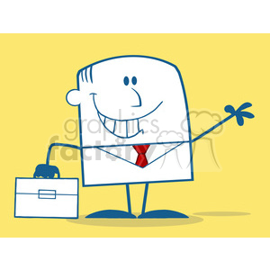 Royalty Free RF Clipart Illustration Smiling Businessman Waving Monochrome Cartoon Character On Yellow Background clipart. Commercial use image # 395799