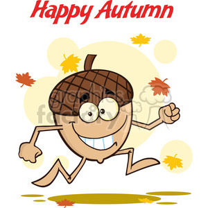 Royalty Free RF Clipart Illustration Happy Autumn With Funny Acorn Cartoon Mascot Character clipart. Royalty-free image # 395819