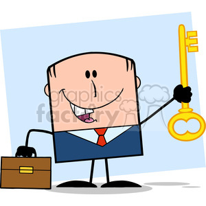 Royalty Free RF Clipart Illustration Happy Businessman With Briefcase Holding A Golden Key Cartoon Character On Background clipart. Commercial use image # 395829