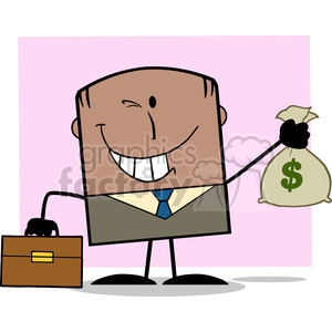 Winking African American Businessman With Briefcase Holding A Money Bag Cartoon Character On Background clipart. Royalty-free image # 395839