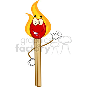 Royalty Free RF Clipart Illustration Burning Match Stick Cartoon Mascot Character Waving