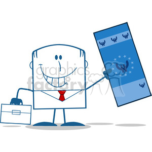 Royalty Free RF Clipart Illustration Lucky Businessman With Briefcase Holding A Euro Bill Monochrome Cartoon Character clipart. Royalty-free image # 395899