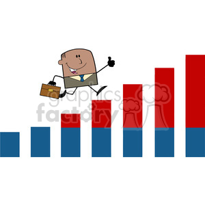 Royalty Free RF Clipart Illustration African American Businessman Giving A Thumb Up And Running Over Growing Bar Chart Cartoon Character clipart. Commercial use image # 395939