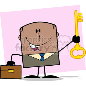 Royalty Free RF Clipart Illustration Happy African American Businessman With Briefcase Holding A Golden Key Cartoon Character On Background clipart. Commercial use image # 395959