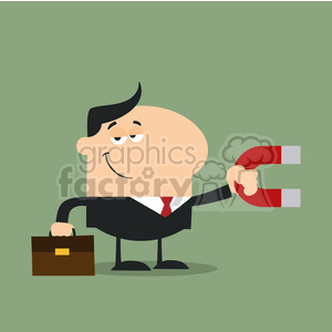 8280 Royalty Free RF Clipart Illustration Smiling Manager Holding A Magnet Flat Design Style Vector Illustration